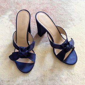 Navy Blue Satin Barney Bow Heel Mule Sandals